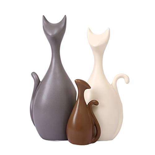 Anding Creative Home Decoration Home Animal Decoration Ceramic Sculpture [Cute cat] 3 Sets(LY-3698-Cat)