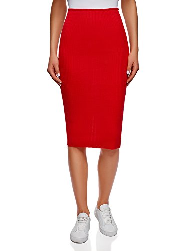 (oodji Ultra Women's Ribbed Elastic Pencil Skirt, Red, 4)