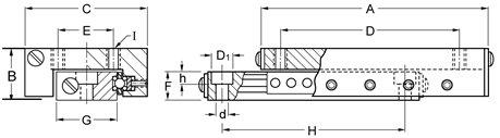 Del-Tron Precision, Inc. 1 in x 3.56 in, 2 in Travel, Ball Slide Assemblies - Inch by Del-Tron Precision Inc