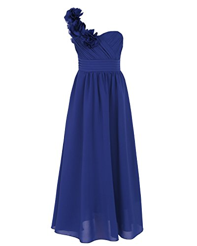 Chiffon Rosette (iEFiEL Big Girls Rosette One Shoulder Chiffon Flower Dress Junior Bridesmaid Gown Dark Blue 12)