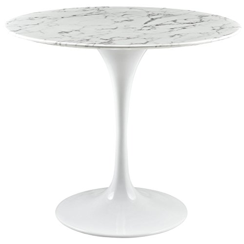 "Modway Lippa 36"" Mid-Century Modern Kitchen and Dining Table with Round Artificial Marble Top and White Pedestal Base"