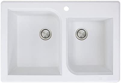 Transolid RTDO3322-01 Radius 33.0625-in x 22.0625-in x 9.5 Granite 1-3 4 Offset Double Drop-in Kitchen Sink with 1 Pre-Drilled Faucet Hole, White