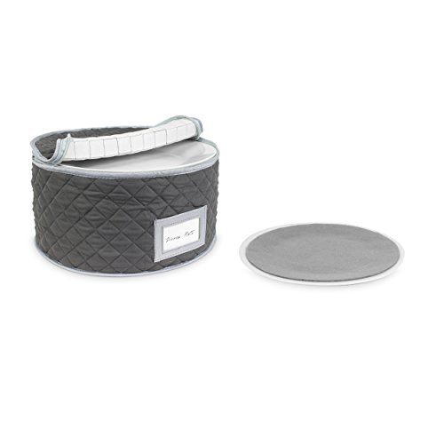 (China Storage Case - Dinner Plate Quilted Case - 12 inches diameter x 7 inches height - Gray - Includes 12 Felt Separators)
