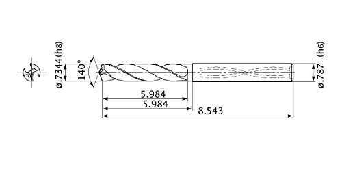 79 mm Length 37 mm Cutting Length 7.7 mm Cutting Diameter SGS 69012 103 3 Flute Drills with 150 Point Geometry Aluminum Titanium Nitride Coating