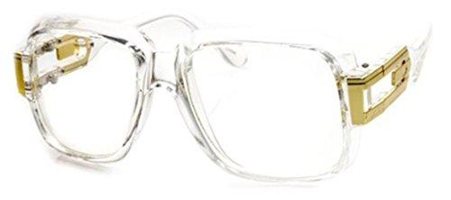 SSS - Classic Retro Crystal Square Frame RUN DMC Clear Lens Eye Glasses (Crystal Clear | - Run Frames Dmc Glasses