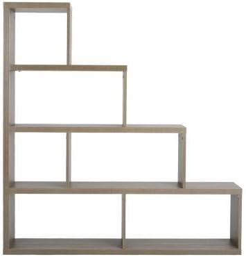 Estantería de madera con forma de escalera de almacenamiento, 6 estantes, separador de habitaciones, estantería para hogar, oficina, muebles de haya, color gris: Amazon.es: Oficina y papelería