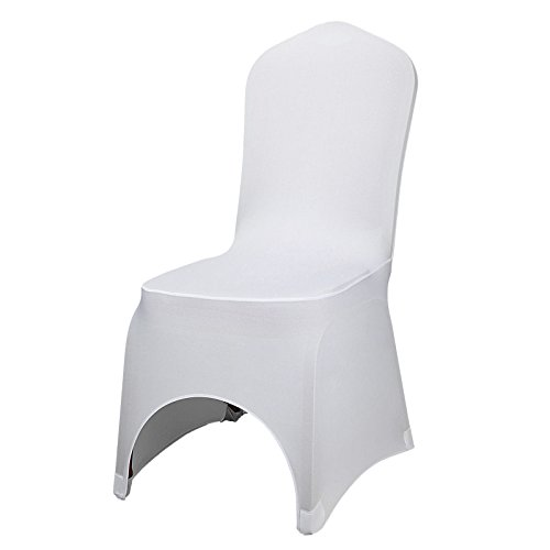 Happybuy 100 Pack of White Chair Covers Stretch Polyester Spandex Slipcovers for Banquet Dining Party Wedding Decorations Folding Slipcovers Arched Front Chair Covers (100pcs-Arched Front)