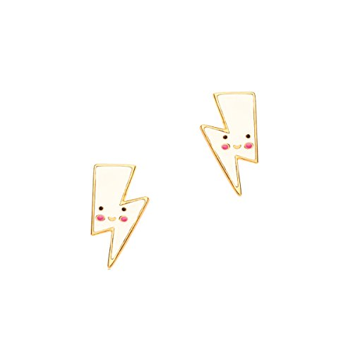 Price comparison product image Girl Nation Cuties Collection Enamel White Lightning Post Earrings