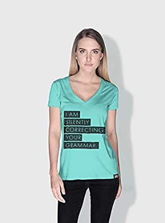 Creo Silently Correcting Your Grammar Funny T-Shirts For Women - M, Green