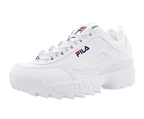 Fila Men's Disruptor II Sneakers, White/Navy/Red, 9 M US