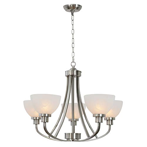 VINLUZ 5 Light Large Chandelier Classic Pendant Lighting Brushed Nickel Finish with Alabaster Glass Shades for Kitchen Dining Room Living Room