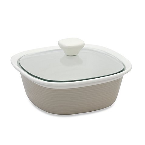 CorningWare® EtchTM 1-1/2-Quart Casserole Dish in Sand with See-through Glass Lids