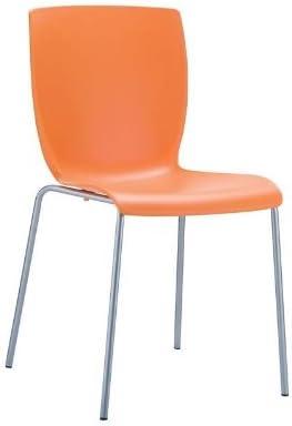 CLP Silla Apilable Mio I Silla De Exterio/Interior con Estructura De Polipropileno I Silla Juvenil Resistente I Silla De Jardín I Color: Rojo Naranja
