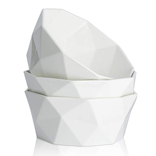 54-Ounce Porcelain Bowl Set for Cereal, Salad and Desserts, Set of 3,White,by HITFUN