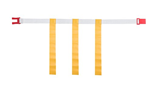 Champion Sports Adjustable Magnetic Flag Football Belts: Flag Football Belt Set - Adjustable Flag Football Belts with Magnet Buckles - White Belt with 3 Yellow Flags and Buckle - Medium Size, 12 Pack
