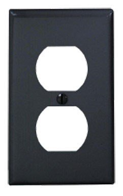 Covers Switchplate Black - Leviton 80703-E 1-Duplex Receptacle Standard Size Wall Plate, 1 Gang, 4-1/2 In L X 2-3/4 In W 0.215 In T 1-Pack Black