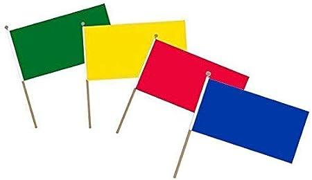 Juego de 4 Banderas de Mano pequeñas, Color Rojo, Amarillo, Verde, Azul, con Texto en inglés School Sports Team: Amazon.es: Hogar