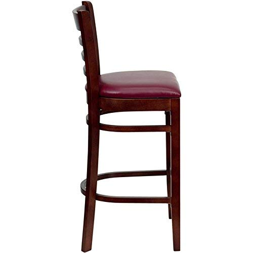 Flash Furniture HERCULES Series Ladder Back Mahogany Wood Restaurant Barstool - Burgundy Vinyl Seat