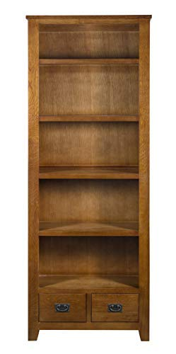 Mission Quarter Sawn Oak Bookcase with 2-Drawers & Open Shelving (Weavers Amish Furniture)