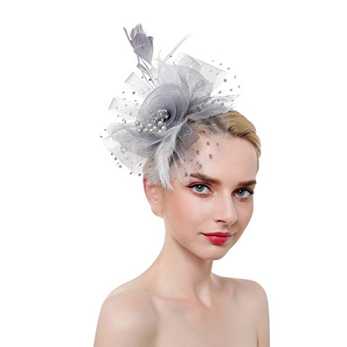 Fascinator Hat Feather Mesh Net Veil Party Hat Flower Derby Hat with Clip and Hairband for Women Grey]()