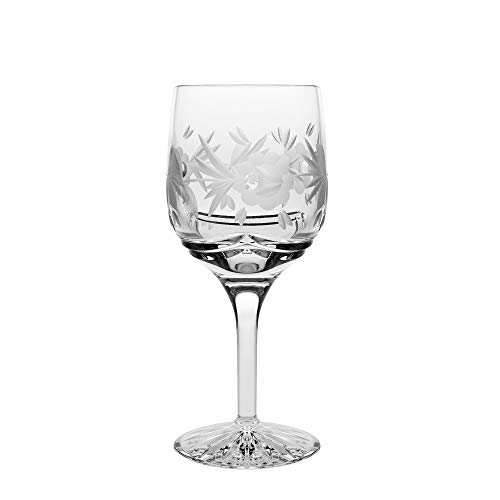 Barski - Hand Cut - Mouth Blown - Crystal - Wine Glass - Goblet - With Rose Design - Set of 4 - 7oz. - Made in Europe ()