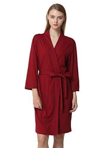 Anna King Womens Cotton Robe Lightweight Soft Kimono Knit Bathrobe Loungewear Sleepwear Short S-XL