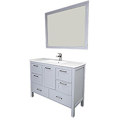 Siena 48 Gray Solid Doors Ceramic Sink