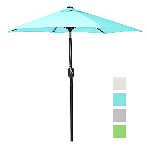 6 Ft Outdoor Patio Umbrella with Aluminum Pole, Easy Open/Close Crank and Push Button Tilt Adjustment – Aqua Market Umbrellas