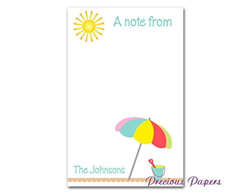 (Personalized beach theme notepad - beach notepad summer notepad 50 sheets)