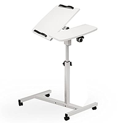 TANGON Mobile Laptop Desk Cart Laptop Rolling Cart Table Height Adjustable Notebook Computer Stand (White)
