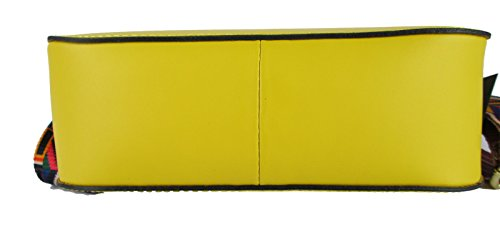 Borsa da donna con tracolla in vera pelle made in Italy inspired rock guitar giallo