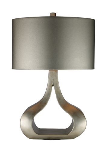 Dimond D1840 17-Inch Width by 26-Inch Height Carolina Table Lamp in Silver Leaf with Oval Metallic Silver Faux Leather Shade and Silver Foil Liner