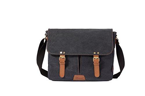 Vintage Men Messenger Bag, Kaukko Canvas Crossbody Shoulder Bags Laptop Briefcase Black