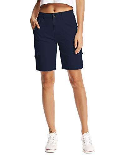Aiegernle Women's Relaxed Fit Cargo Shorts, Bermuda Cargo Shorts for Women, Womens Stretch Cargo Shorts Navy Blue ()