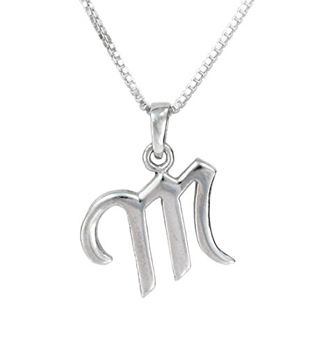 Sterling Silver Initial Charm Necklace, Letter M, 18