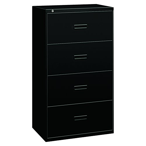 Lateral Drawer 30w 2 File - HON Filing Cabinet - 400 Series Four-Drawer Lateral File Cabinet, 30w x 19-1/4d x 53-1/4h, Black, (434LP)