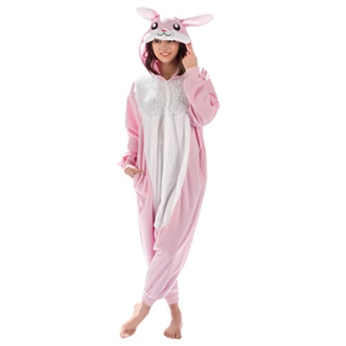 Emolly Fashion Adult Bunny Animal Onesie Costume Pajamas for Adults and Teens (Large) Pink/White -