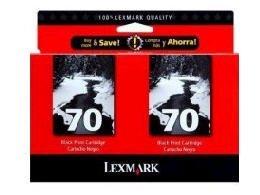 Lexmark 70 (15M1330) Black OEM Genuine Inkjet/Ink Cartridge (12A1970*2) (600 x2 Yield) - (15m1330 Ink)