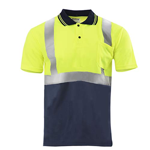 JORESTECH Safety Polo Shirt Reflective High Visibility Short Sleeve Yellow/Lime Dark Blue Bottom ANSI Class 2 Level 2 Type R PS-01 (2XL) (Hi Vis Polo Shirts With Reflective Tape)