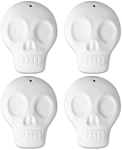 Large Day of The Dead Skull Ornaments - Set of 4 - Paint Your Own Ceramic Keepsake]()