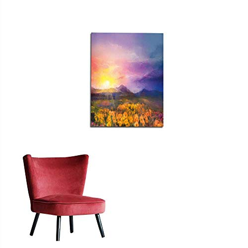 Wall Paper Oil Painting Yellow- Golden Daisy Flowers in Fields Mural 20