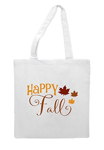 White Autumn Fall Bag three Tote Happy Leaves One Statement Shopper 6SqnW7za7