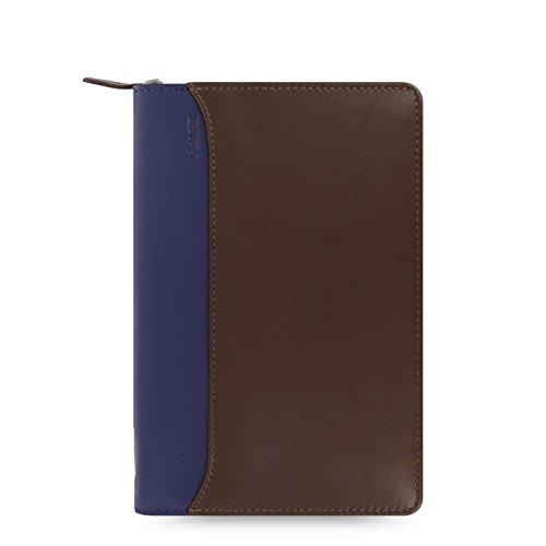 - Filofax Personal Nappa Leather Zipped Organiser - Chocolate/Blue