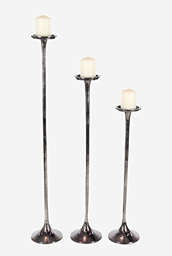 Deco 79 38038 Tall Metallic Gray Candle Holders (Set of 3), 27