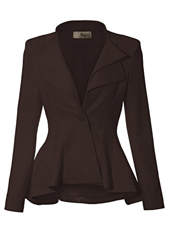 Women Double Notch Lapel Office Blazer JK43864 1073T Brown 2X by HyBrid & Company