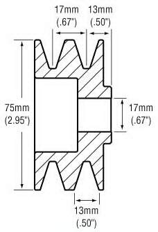 2.96 // 75.1mm OD 0.67 // 17mm ID GP688 F1HZ10344A F1HU10A352AB GP-688//24-2106//202-14006 2-Grooves New Pulley ALT-C-005 Ford // F1HZ-10344-A F1HU-10A352-AB