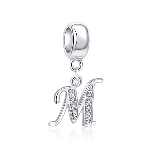 Letter M Charm Sterling Silver 925 Initial A-z Alphabet Beads Name Charm for Bracelet - Trinket Initial Charm