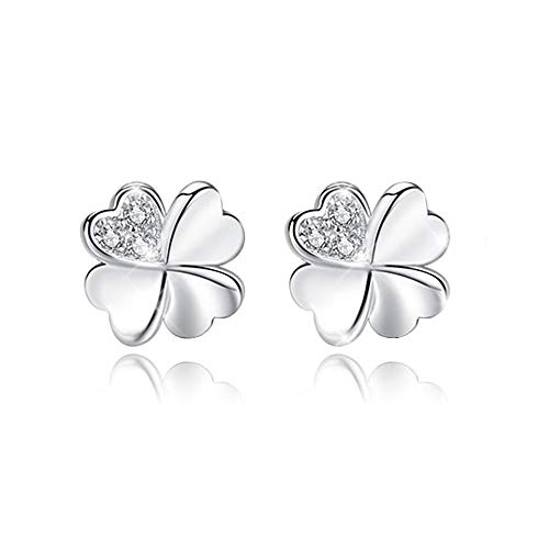 AVECON Four-Leaf Clover Stud Earrings with Cubic Zirconia, Polish Hypoallergenic Finish 925 Sterling Silver Lucky Earrings (Four-Leaf Clover)
