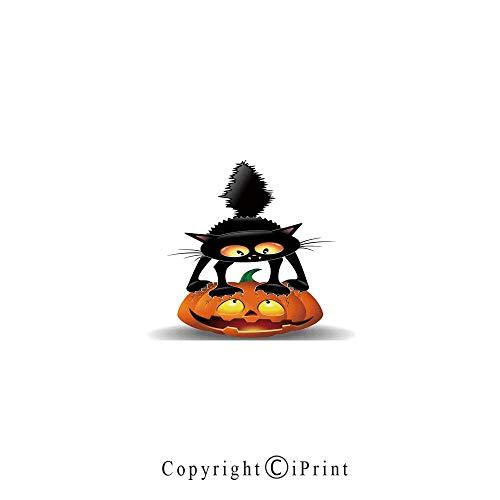 Halloween Decorations Large Premium Quick Dry Cotton & Microfiber Bath Towel,Black Cat on Pumpkin Spooky Cartoon Characters Halloween Humor Art,for Travel Sports & Beach,W55.1 x L27.5 Orange Black ()