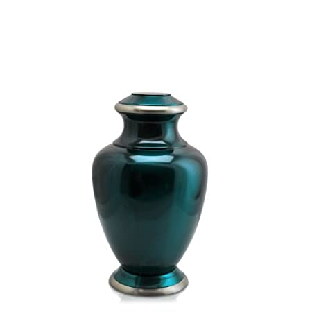 Custom Shiny Turquoise Brass Cremation Urn – Can Be Engraved With Your Own Personalization 6 Sharing, Plain